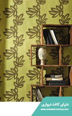 آلبوم کاغذدیواری طرح دار رنگ سبز خردلی از آلبوم مکاسار فرانسوی کد 9700336