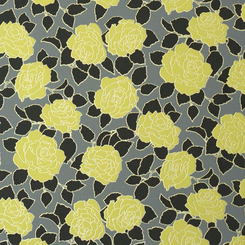 کاغذ دیواری گل دار رنگ زرد طلایی قابل شستشو از آلبوم بروکانته با کد 45955