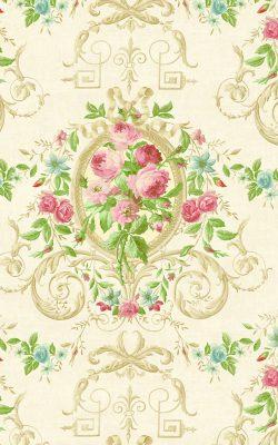 کاغذ دیواری پذیرایی گلدار کلاسیک و زیبا داماسک فولیو برند سیبروک کد 30201