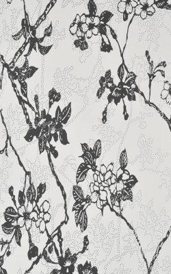 کاغذ دیواری گل دار مشکی سفید برند بی ان هلند قابل شستشو کد 46020 چکران